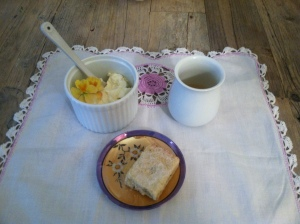 Silk Road White Peony tea with ricotta, pansies from my garden & Bakeri's lavender shortbread.
