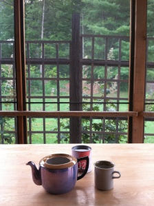 Teatime in Vermont, with a found Japanese teapot, hard water & Joseph Wesley tea, August 2015